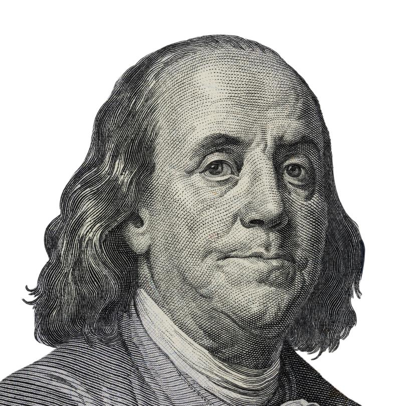 Benjamin Franklin. Qualitative portrait from 100 dollars banknote Clipping path included royalty free stock photography