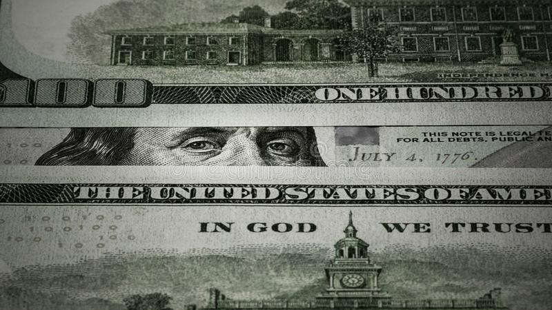 Benjamin Franklin's blik op honderd dollarbiljetten royalty-vrije stock afbeeldingen