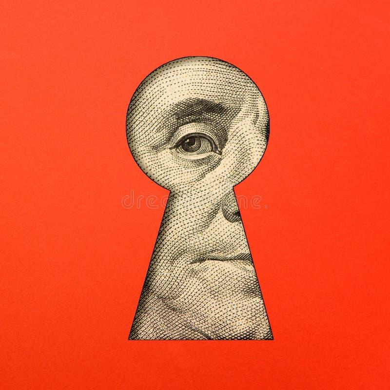 Benjamin Franklin ` s oko w keyhole zdjęcia stock
