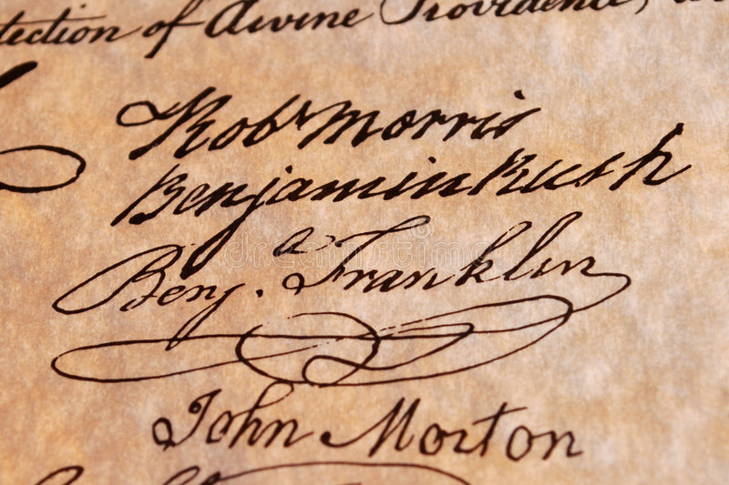 Download Benjamin  Franklin's Signature Royalty Free Stock Photography - Image: 7896177