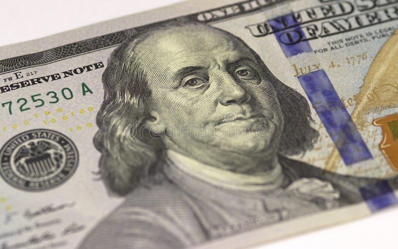 Benjamin Franklin stellen auf des DollarscheinMakro- US hundert oder 100, Geldnahaufnahme Vereinigter Staaten gegenüber stockbild