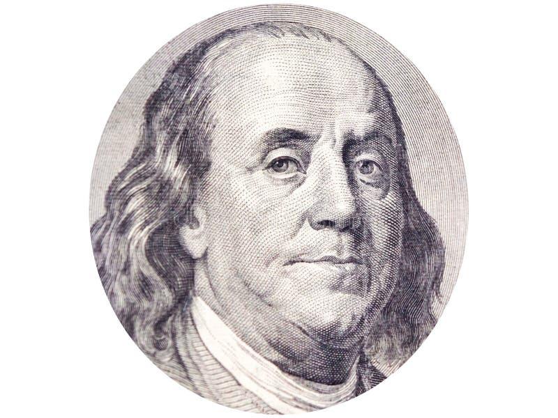Benjamin Franklin vänder mot i ellips på bakgrund för nollan för räkningen för dollar 100 vit royaltyfri fotografi