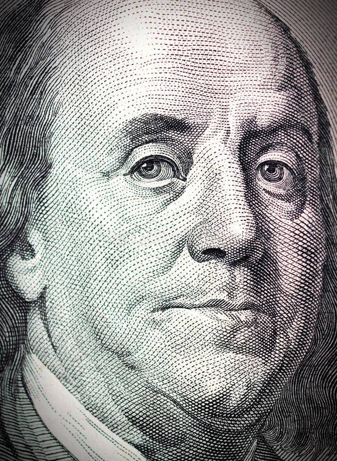 Benjamin- Franklingesicht auf Dollarschein lizenzfreie abbildung