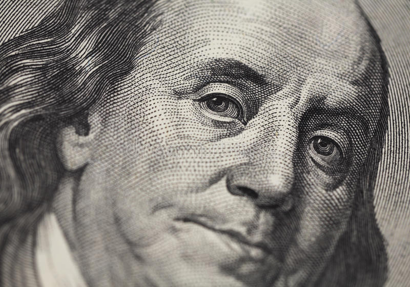 Benjamin- Franklinportrait von 100 Dollar bankno stockfotografie