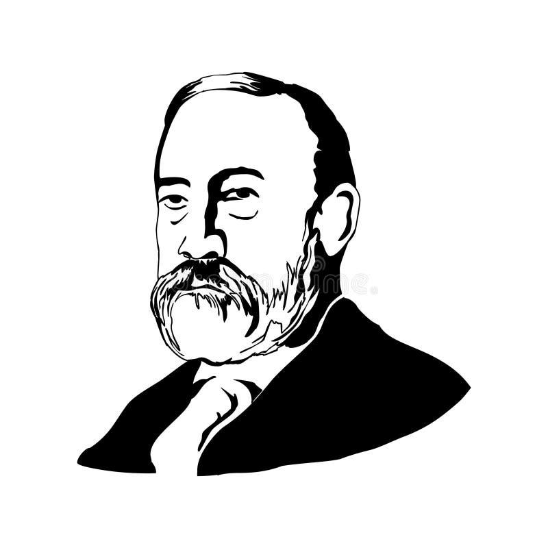 Benjamin Harrison Illustrazione di vettore Disegno in bianco e nero royalty illustrazione gratis