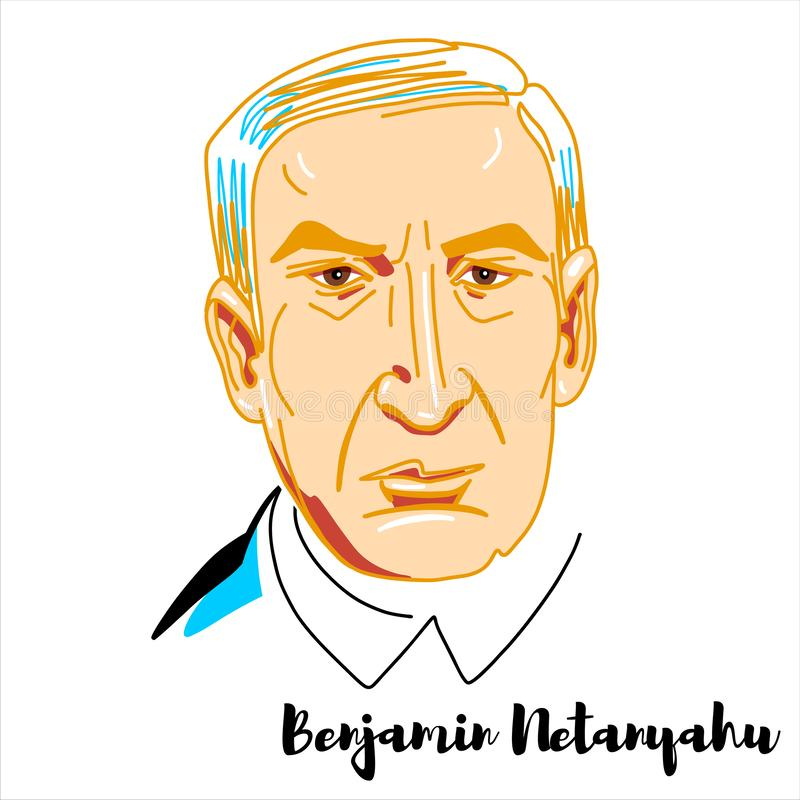 Benjamin Netanyahu Portrait lizenzfreie abbildung
