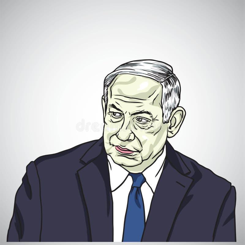 Benjamin Netanyahu, Premierminister von Israel Caricature Vector, am 17. Mai 2018 lizenzfreie abbildung