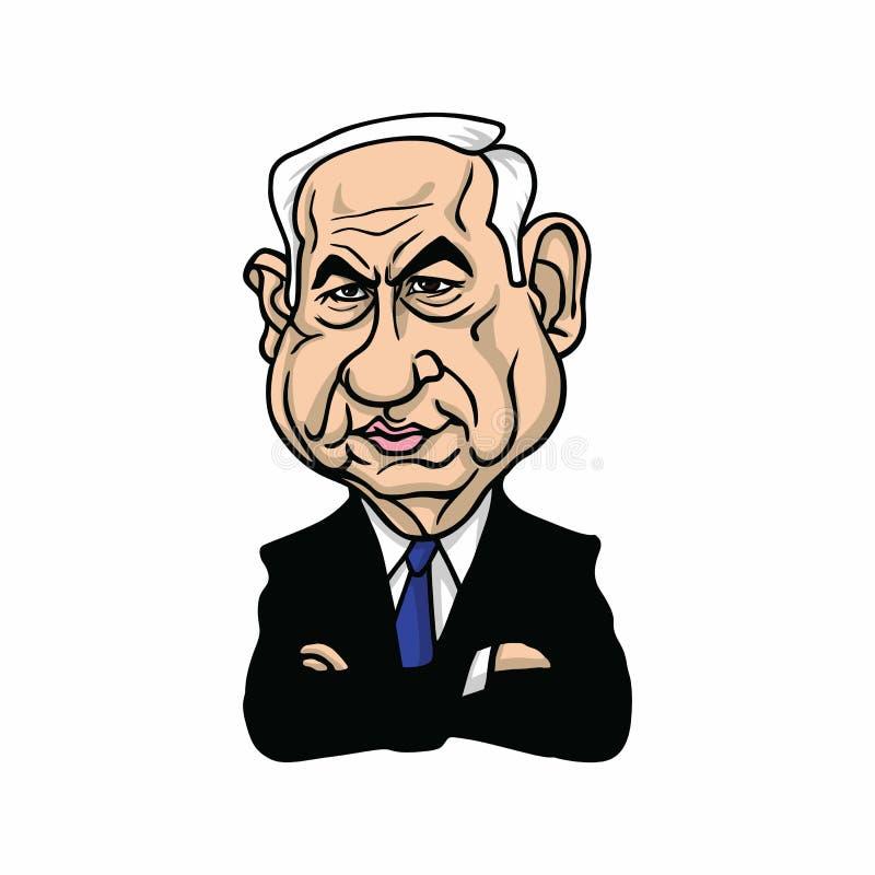 Benjamin Netanyahu, Premierminister von Israel Illustration Vector Design stock abbildung