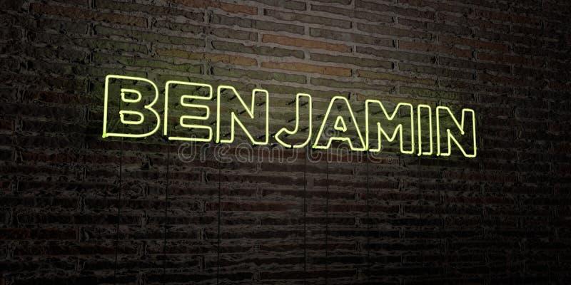 BENJAMIN - realistische Leuchtreklame auf Backsteinmauerhintergrund - 3D übertrug freies Archivbild der Abgabe lizenzfreie abbildung