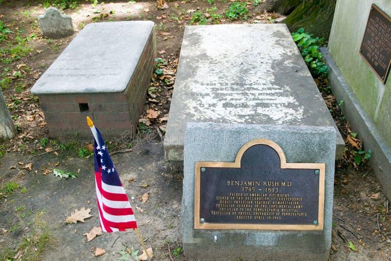 Benjamin rusar, M D gravsten i Kristuskyrkagravplats, Philadelphia, Pennsylvania, en undertecknare av förklaringen av Independ arkivbilder