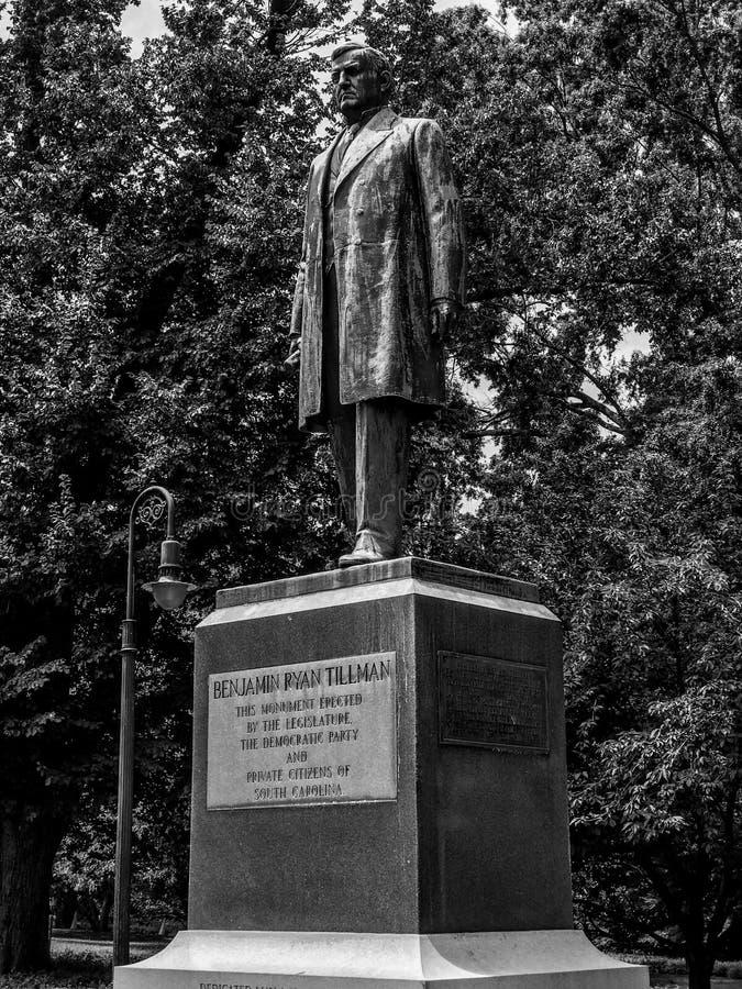 Benjamin Ryan Tillman Monument på jordningen av den södra Carolina State Capital i Columbia fotografering för bildbyråer