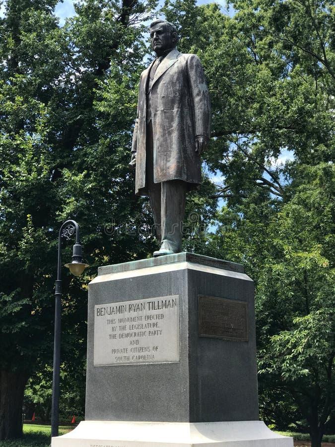 Benjamin Ryan Tillman Monument på jordningen av den södra Carolina State Capital i Columbia arkivbild