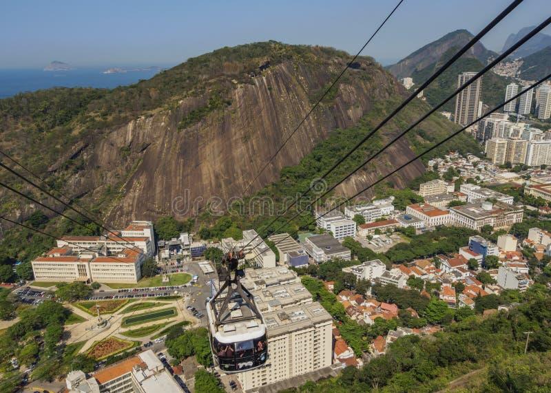 Benne suspendue de Sugarloaf à Rio images libres de droits