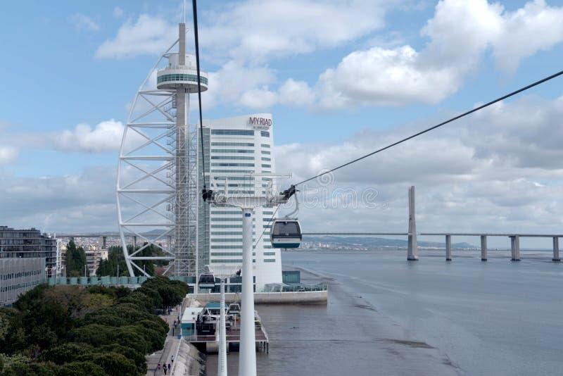 Benne suspendue sur la côte Tejo - Lisbonne photographie stock