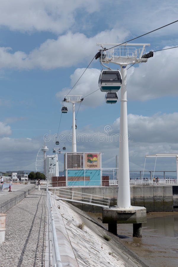 Benne suspendue sur la côte Tejo - Lisbonne images stock