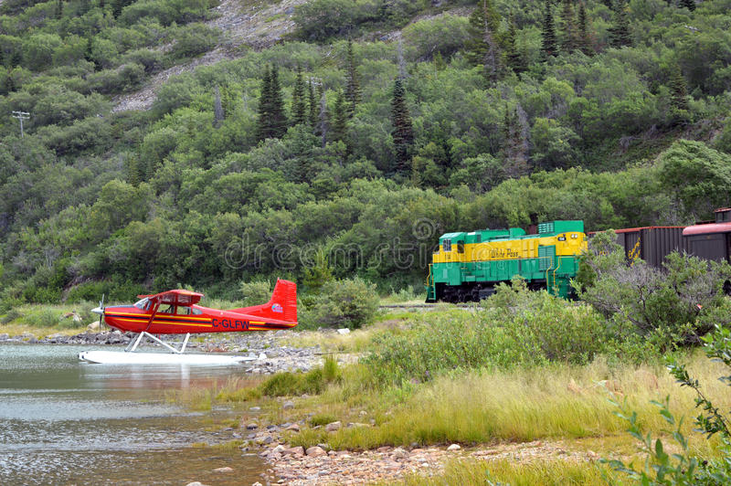 Bennet Lake, Yukon: Float Plane and Whites Pass Train stock photography