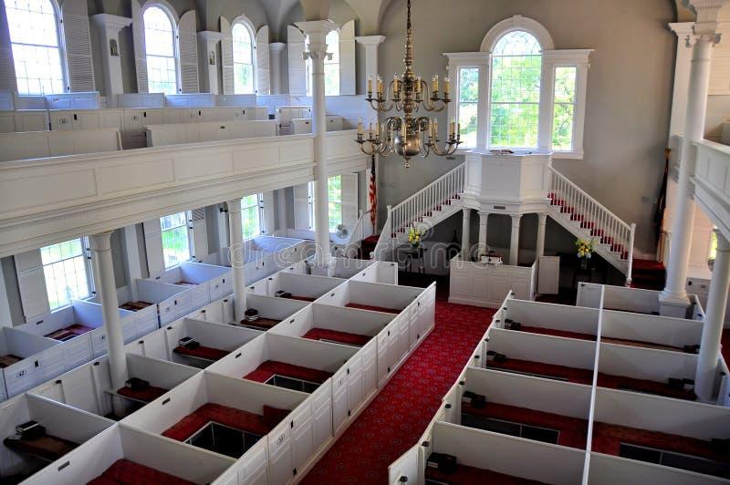 Bennington, VT: Interior of First Congregational Church. Bennington, Vermont: Interior of the 1806 First Congregational Church on Monument Avenue with its boxed stock photo