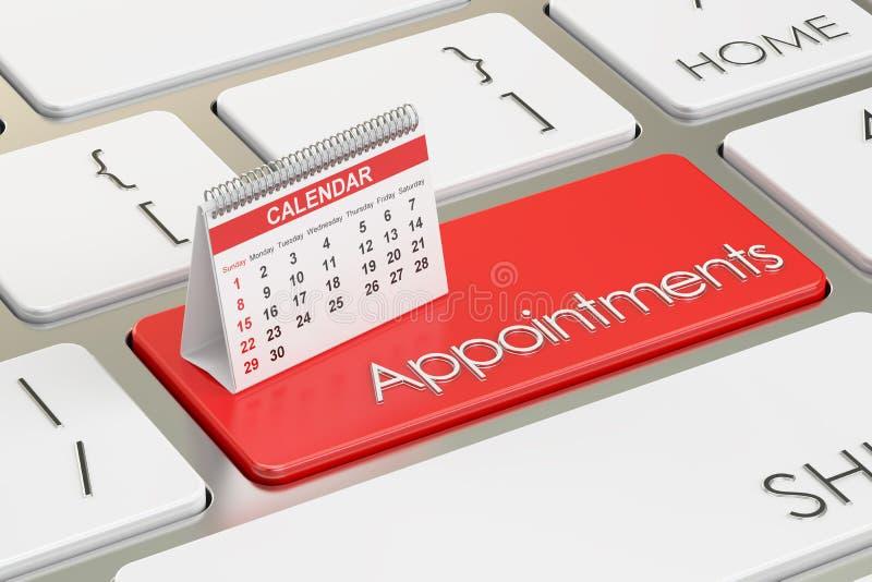 Benoemingenconcept met kalender op het toetsenbord, het 3D teruggeven royalty-vrije illustratie