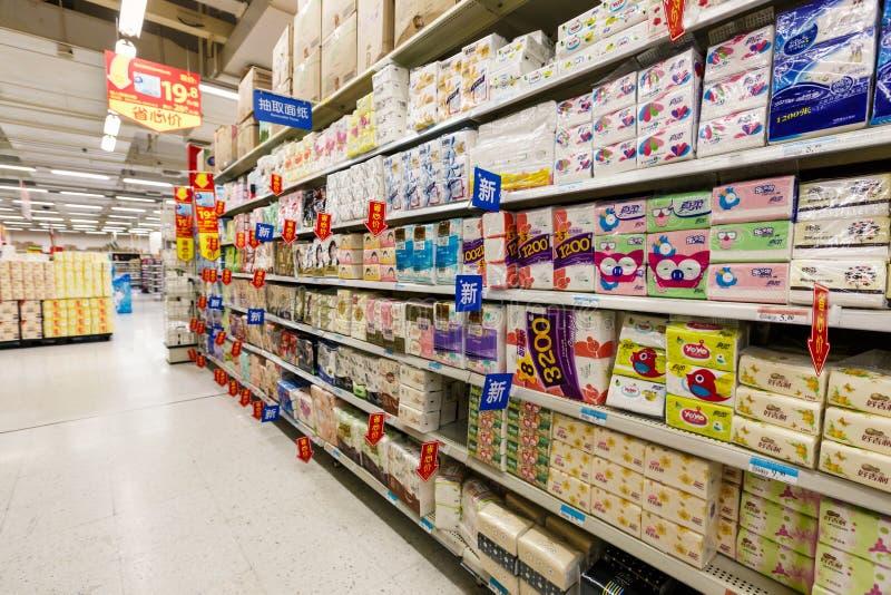 Bens do retalho do supermercado do wal-mercado de China hangzhou foto de stock