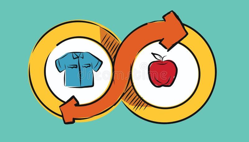 Bens econômicos da troca da troca do conceito da transação do comércio do comércio da troca que tiram a ilustração ilustração stock