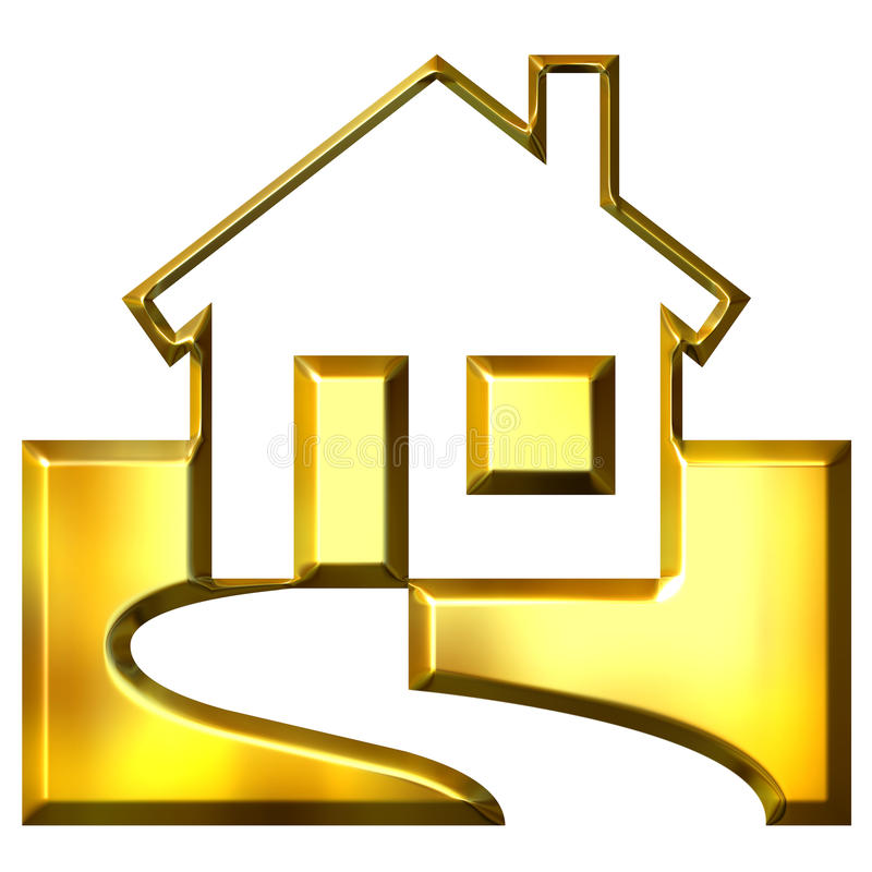 bens imobiliários 3D dourados ilustração do vetor