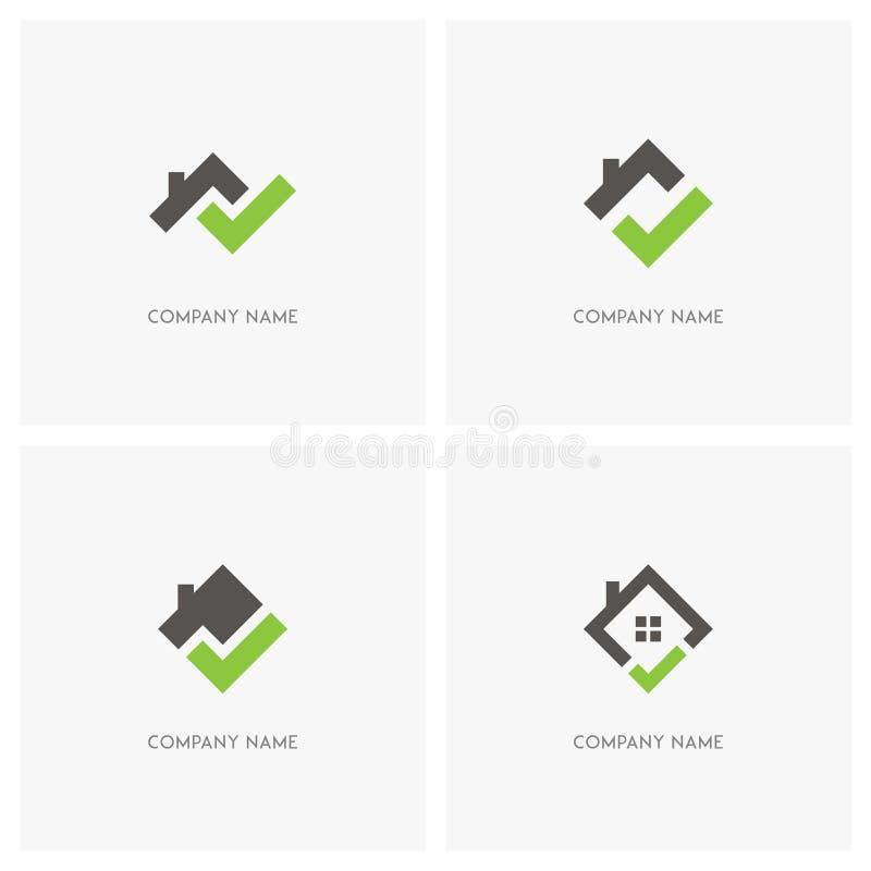 Bens imobiliários com logotipo da marca de verificação ilustração do vetor