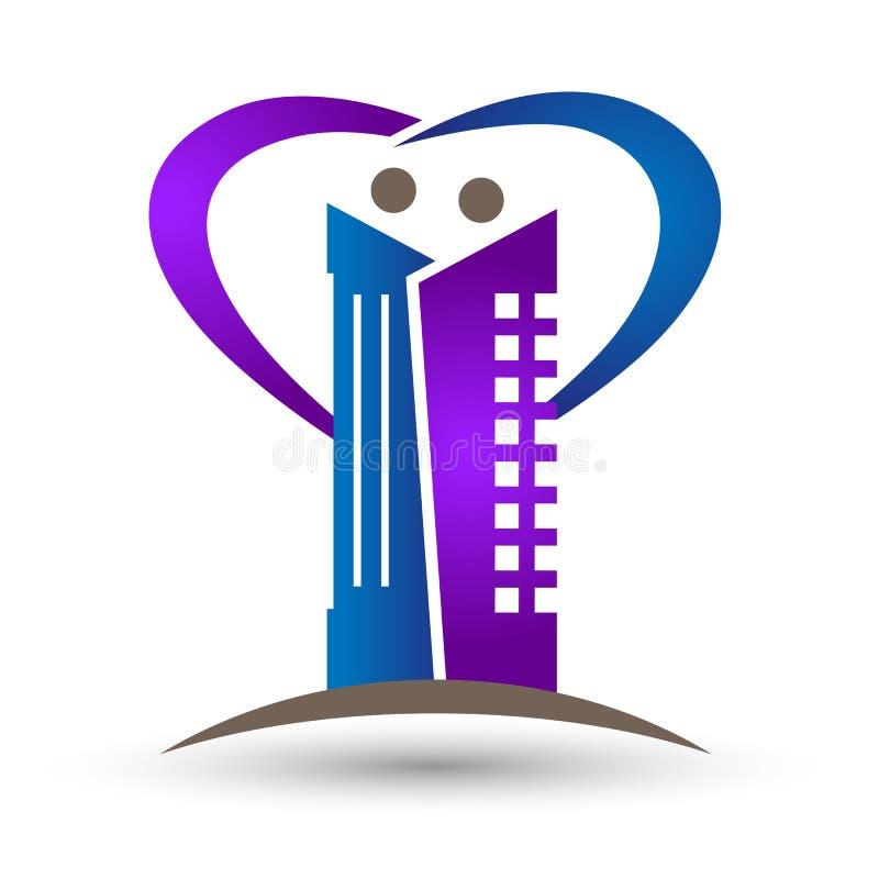 Bens imobiliários, coração e família, projeto de construção do logotipo do ícone do símbolo do apartamento ilustração royalty free