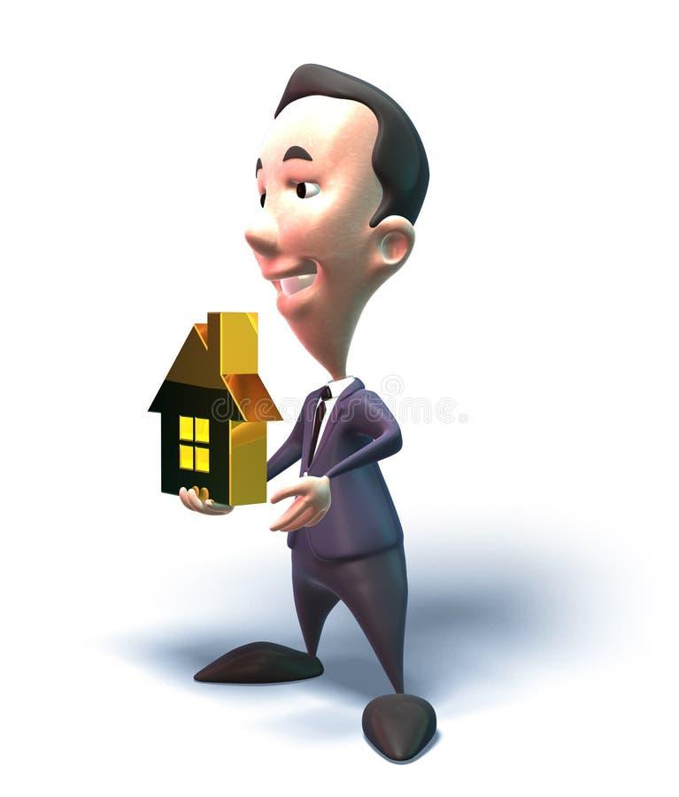 Bens imobiliários das vendas do homem de negócio ilustração royalty free