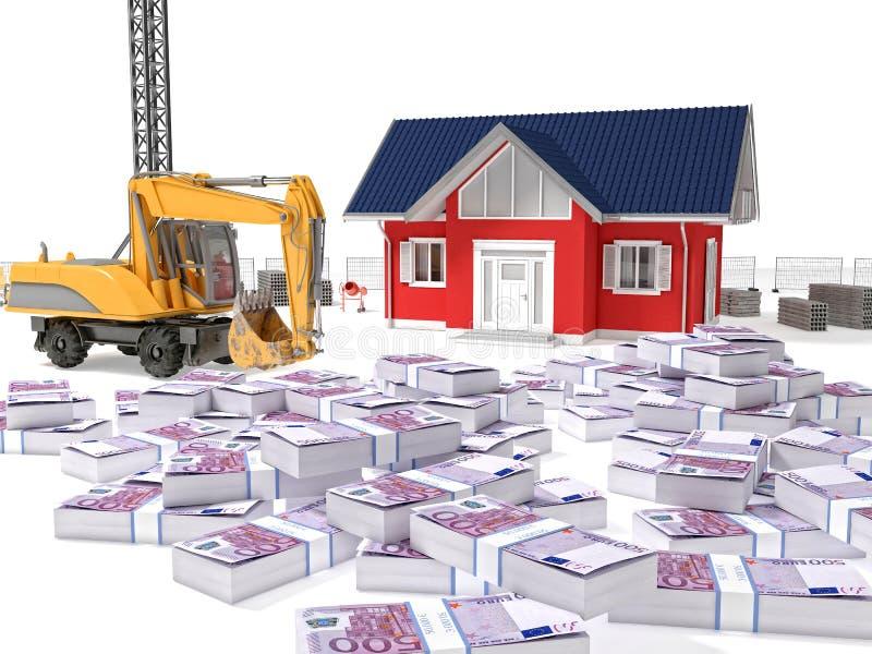 Bens imobiliários e dólares ilustração do vetor
