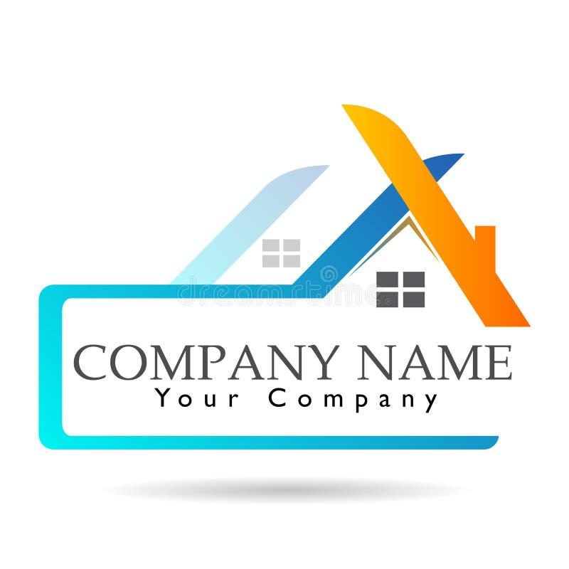 Bens imobiliários e logotipo home Megalópole, construção, sinal do elemento do ícone do logotipo do conceito da empresa no fundo  ilustração stock
