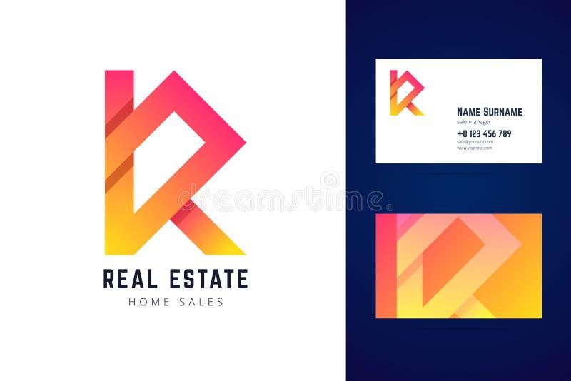 Bens imobiliários, logotipo das vendas home e molde do cartão ilustração stock