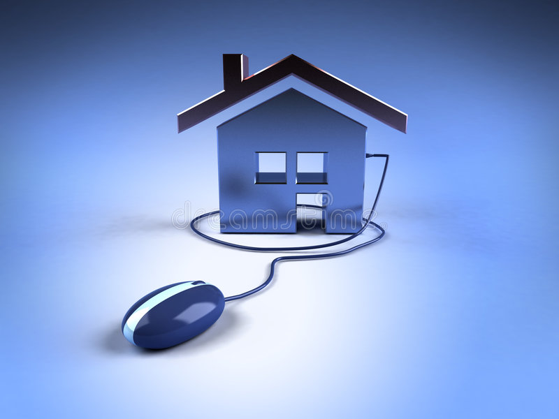 Bens imobiliários no Internet ilustração royalty free