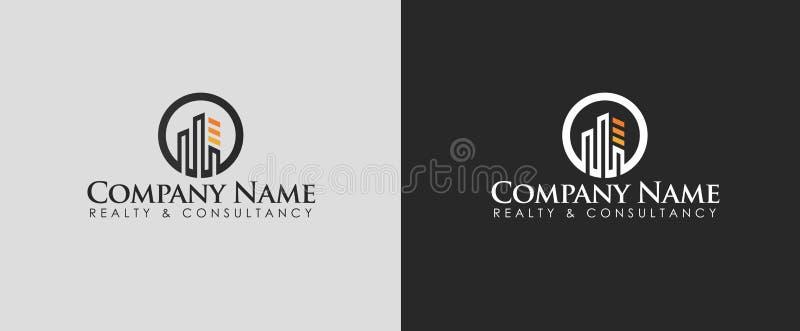 Bens imobiliários ou de logotipo da consulta vetor do projeto com dois fundos diferentes foto de stock