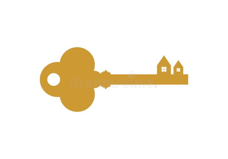 Bens imobiliários, vetor chave do logotipo ilustração do vetor
