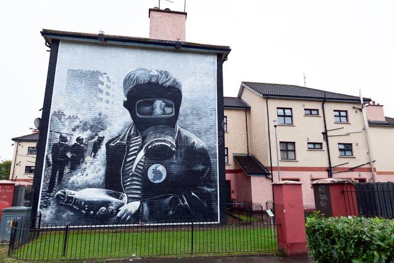 Bensinbombplanväggmålningen i Derry arkivbild