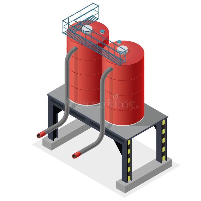 Bensincistern, isometriskt informationsdiagram om byggnad Diesel resurser för bränsletillförsel vektor illustrationer