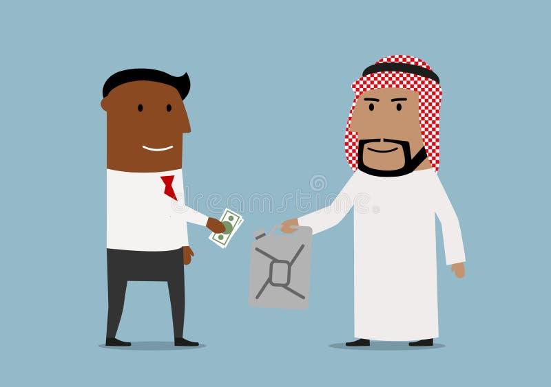 Bensindunk för affärsmanköpandeolja från arab stock illustrationer