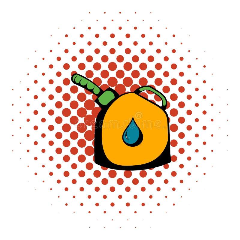 Bensindunken med symbolen för flexirörutloppsröret, komiker utformar vektor illustrationer
