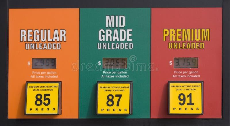 Bensinpriser på en pump royaltyfri bild