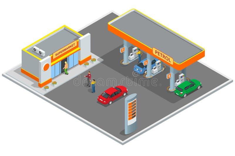 Bensinstation bensinstation Fylla på och att shoppa service Påfyllningstationsbilar och kunder Affärssymbol, Infographics royaltyfri illustrationer