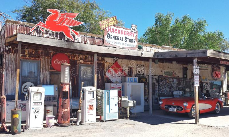 Bensinstation på Route 66 royaltyfri fotografi