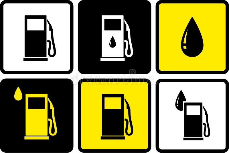 Bensinstationsymboler med bränsledroppe stock illustrationer