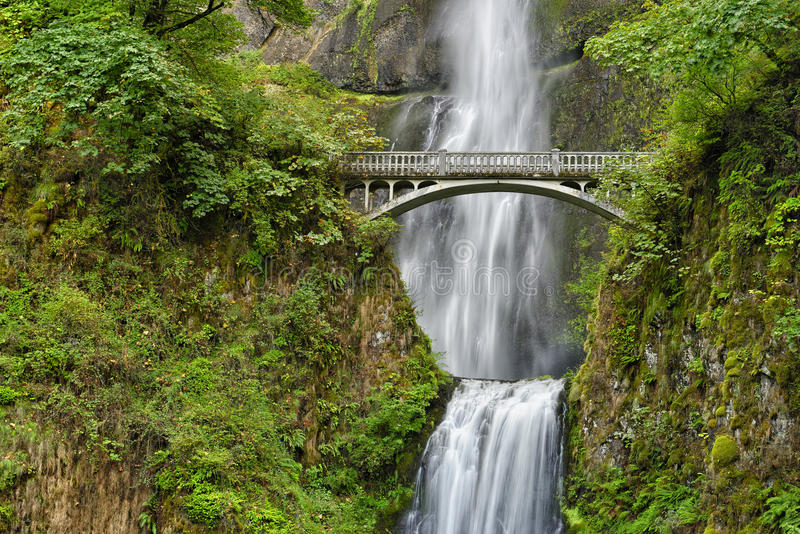 Benson Bridge sobre quedas de Multnomah, desfiladeiro Nationa do Rio Columbia imagem de stock royalty free