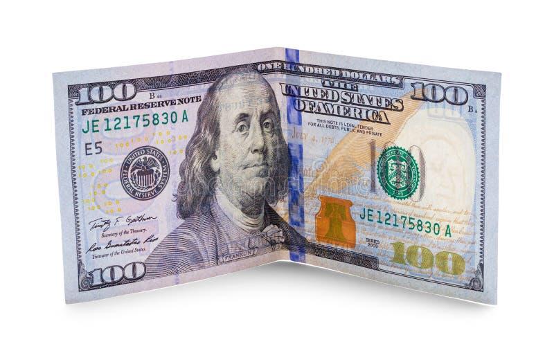 Bent Hundred Dollars imágenes de archivo libres de regalías