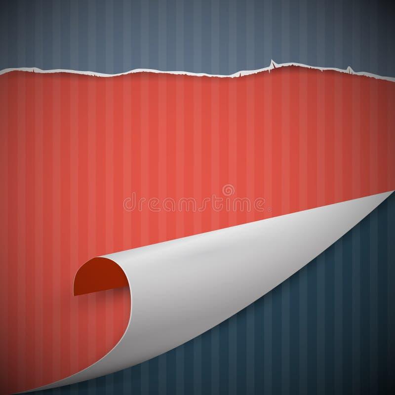 Bent Paper Corner, rétro carton illustration stock
