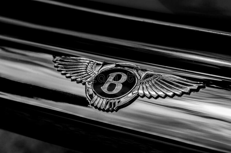 Bentley badge on classic car royalty free stock photo