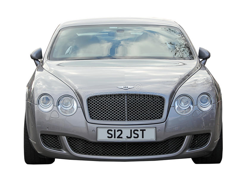 Bentley car. Photo of luxury bentley car showing front view detail isolated on white. photo ideal for transport,travel,luxury cars etc stock image