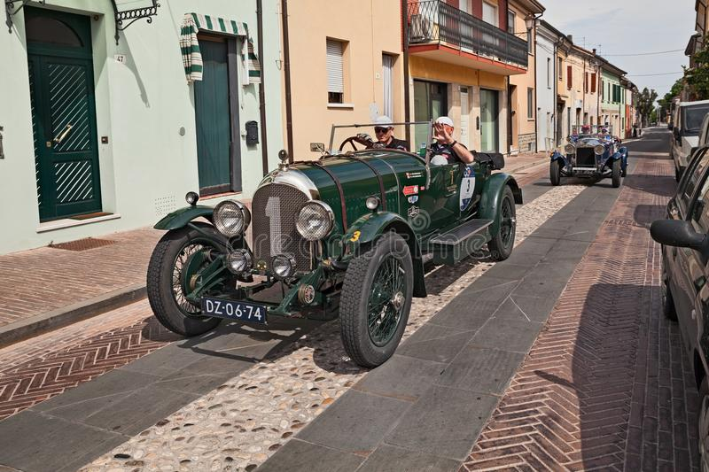 Bentley 3 litre 1923in Mille Miglia 2017. Gatteo, FC, Italy - May 19, 2017: old british racing car Bentley 3 litre 1923 in historical classic car race Mille stock image