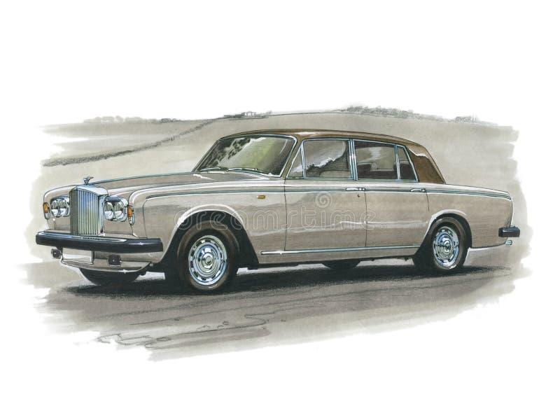 Bentley Silver Shadow. Illustration of a Silver Shadow stock illustration