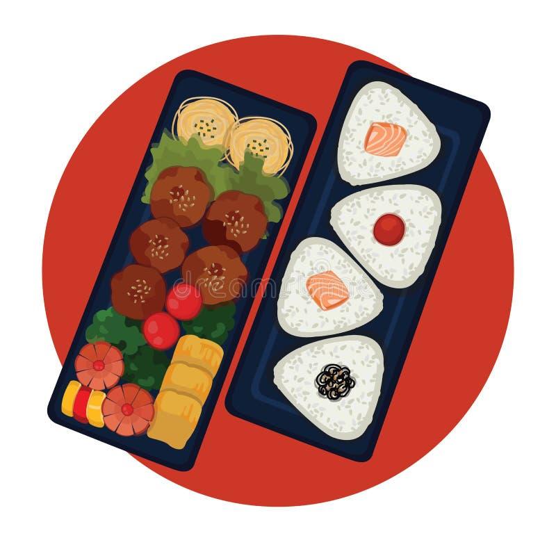 Bento - ιαπωνικό καλαθάκι με φαγητό με τις σφαίρες ρυζιού ελεύθερη απεικόνιση δικαιώματος